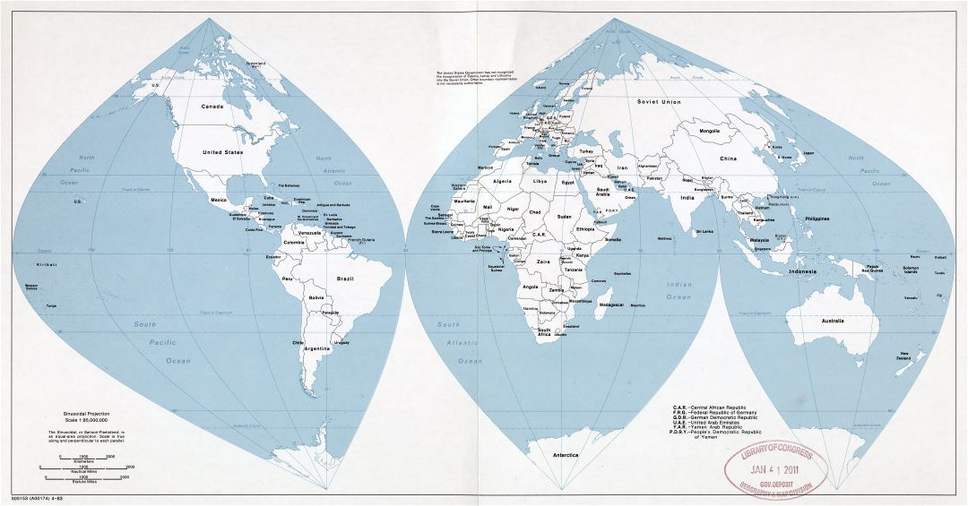 Large scale political map of the World - 1983