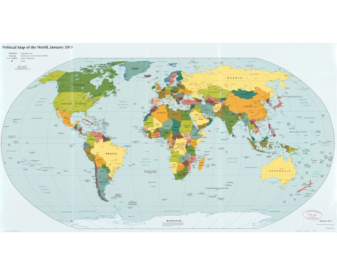 Large scale political map of the World - 2015