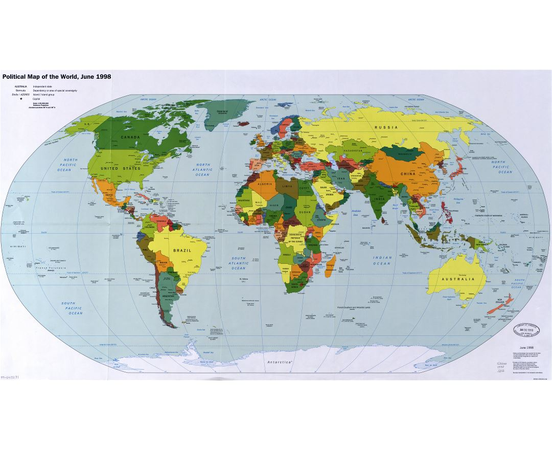 Large scale political map of the World with major cities and capitals - 1998