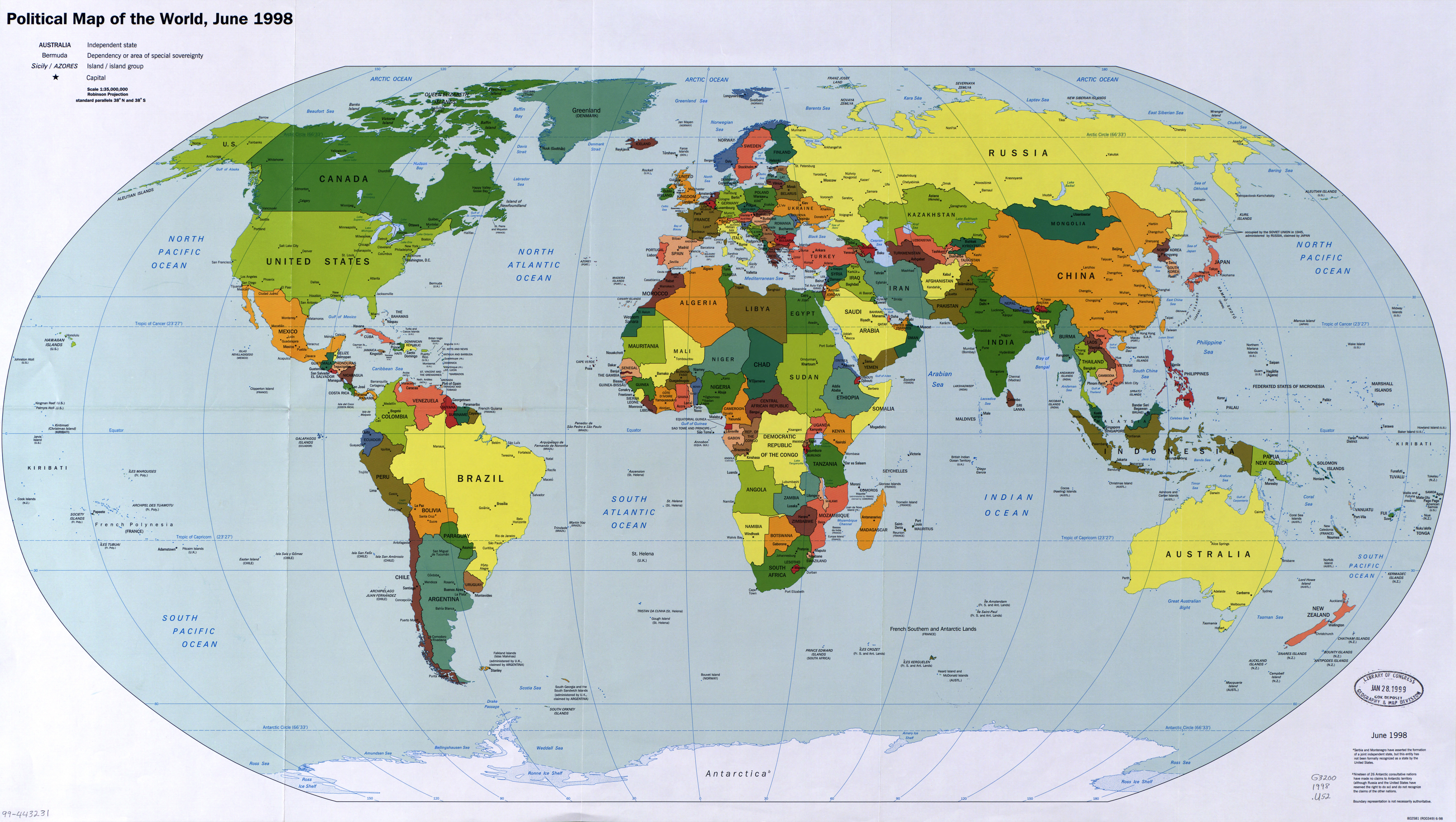 Large scale political map of the World with major cities and ...