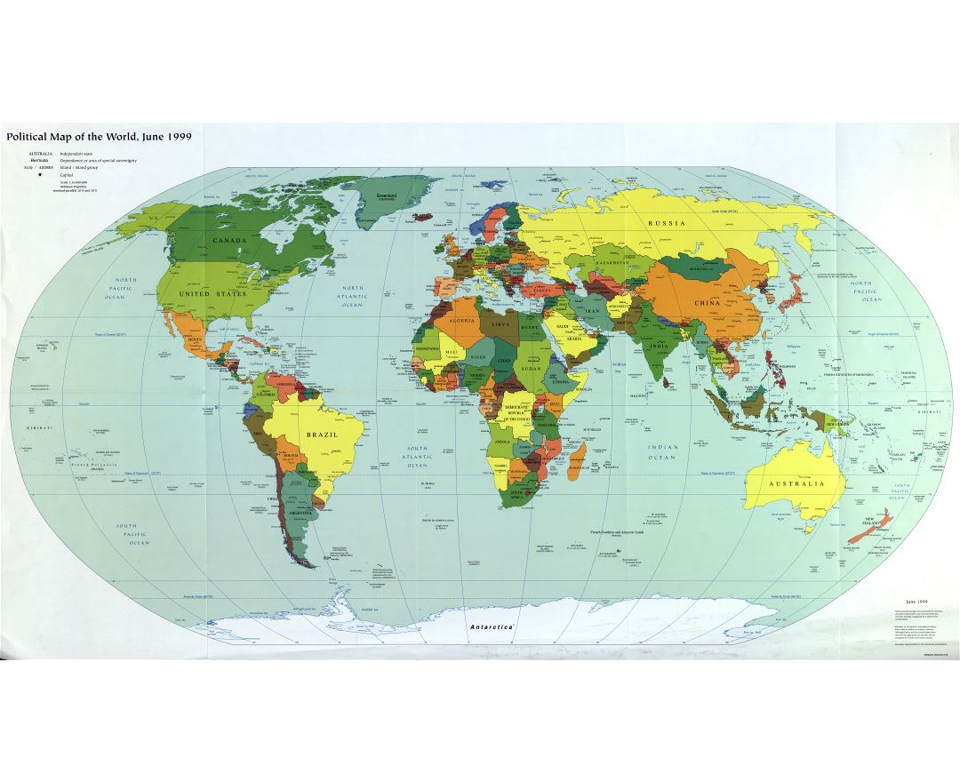 Large scale political map of the World with major cities and capitals - 1999