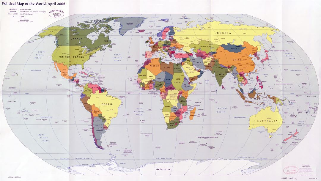 Large scale political map of the World with major cities and capitals - 2006