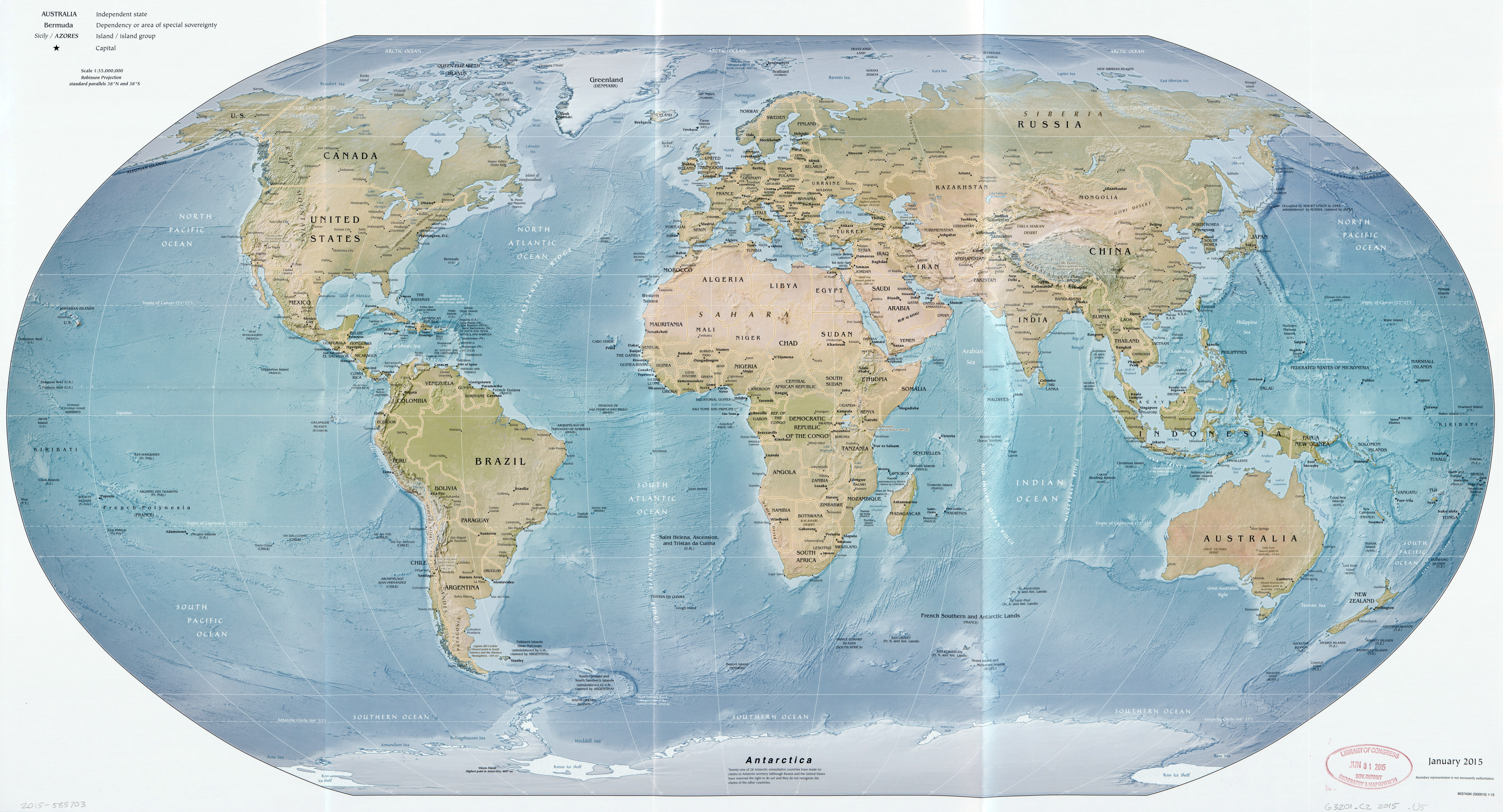 Political Map Of The World 2015.Large Scale Political Map Of The World With Relief 2015 World