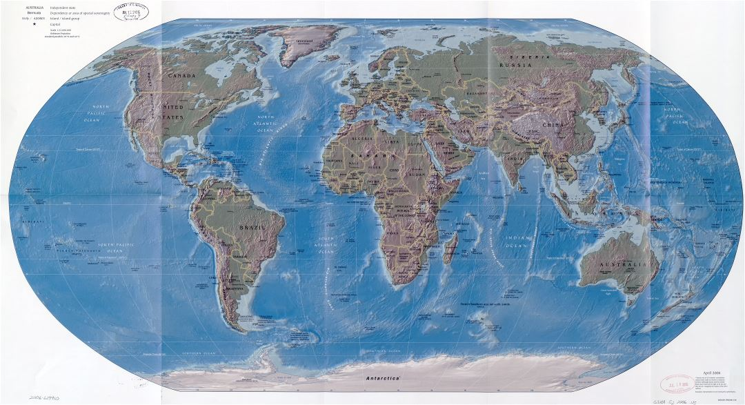 Large scale political map of the World with relief, major cities and capitals - 2006