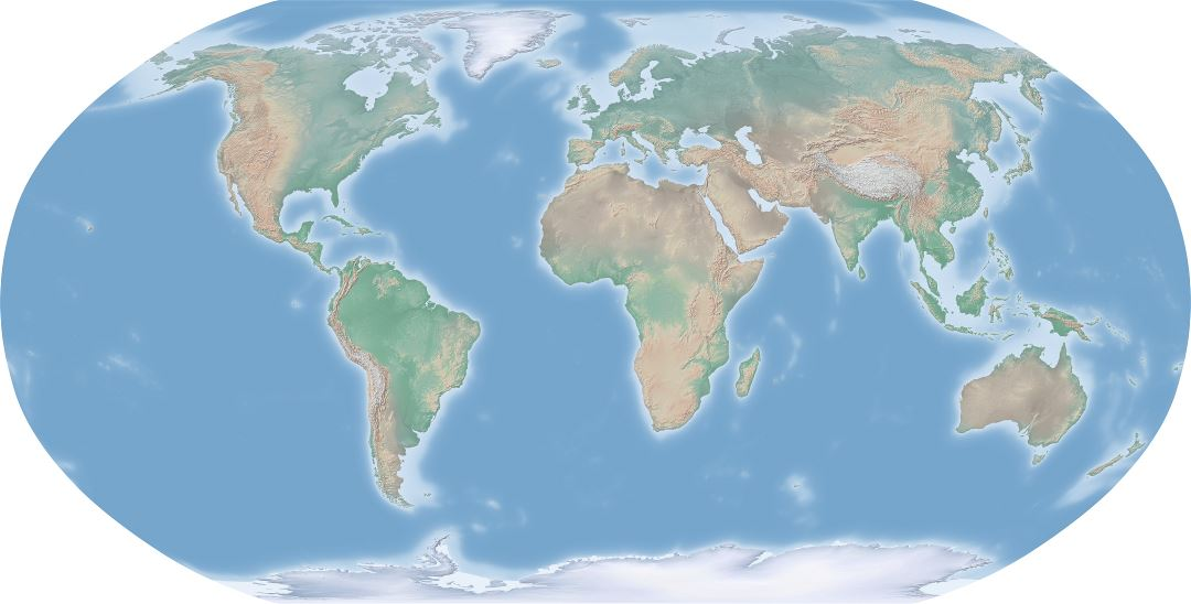 Large scale relief map of the World
