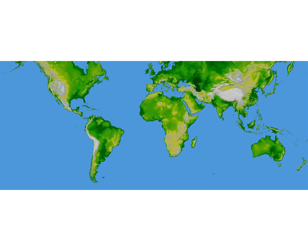 Large topographical map of the World
