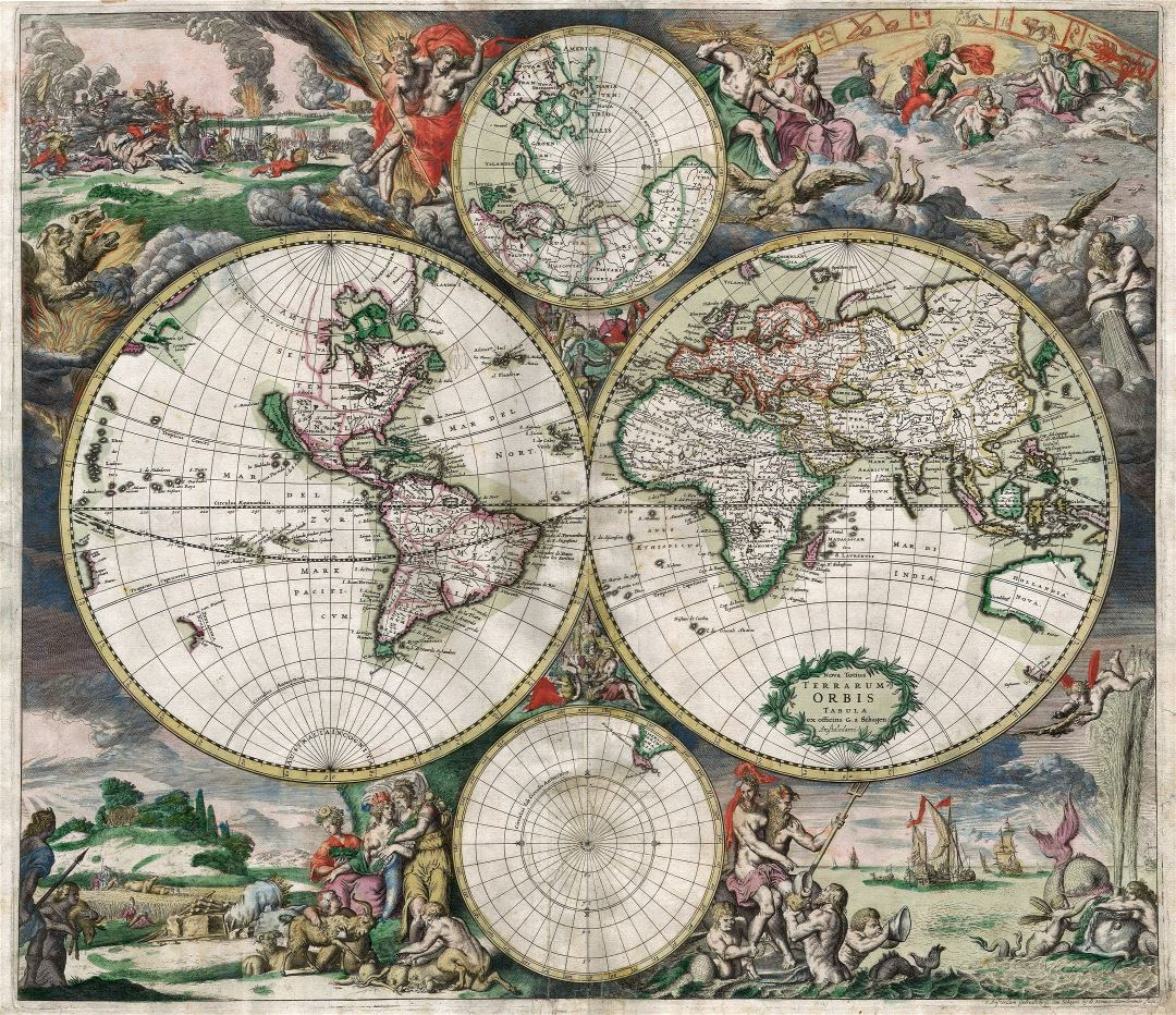 Large detailed antique political map of the World - 1689
