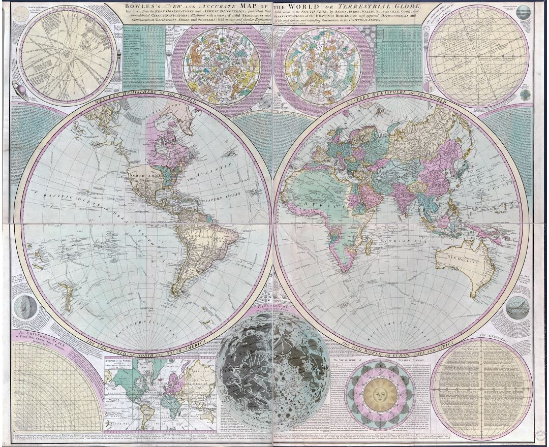 Large detailed old antique map of the World - 1780