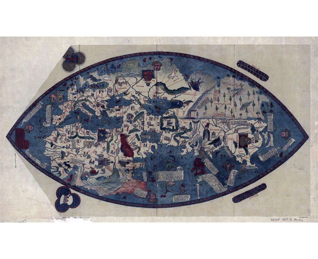 Large detailed old Genoese World map - 1457