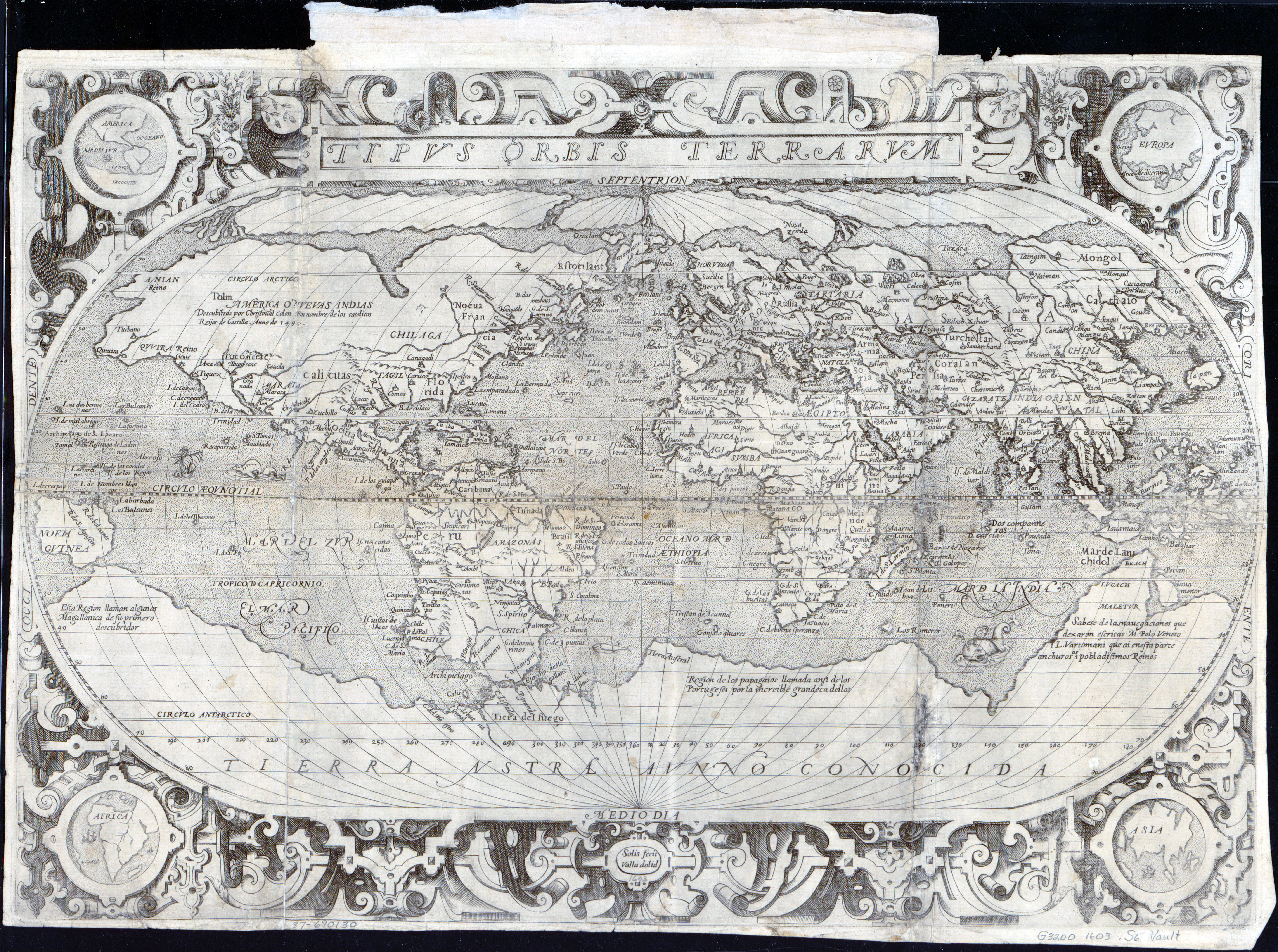 Large Vintage Map Of The World.Large Scale Antique Map Of The World 1603 Old Maps Of The World