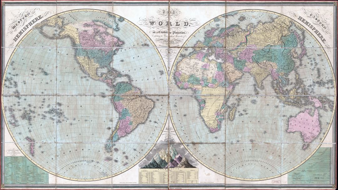 Large scale detailed old political map of the World - 1826