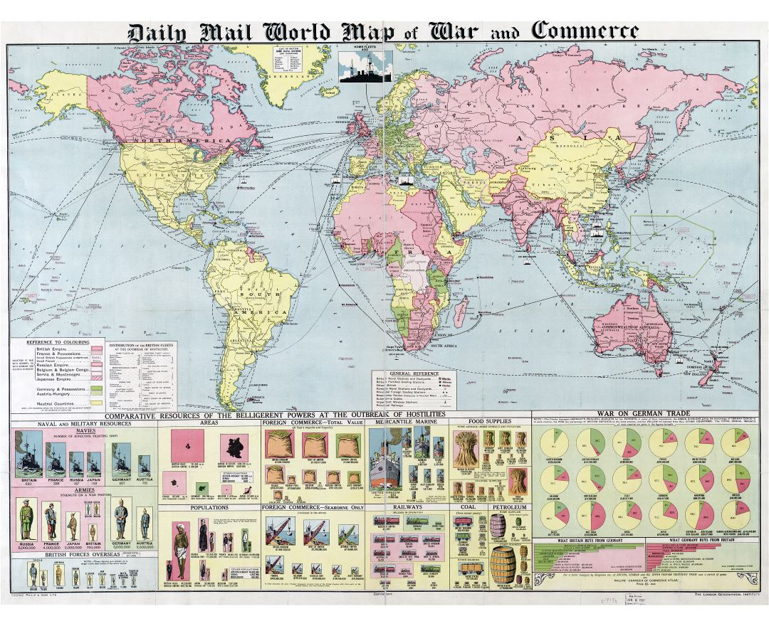Large scale old Daily Mail World map of War and Commerce - 1917