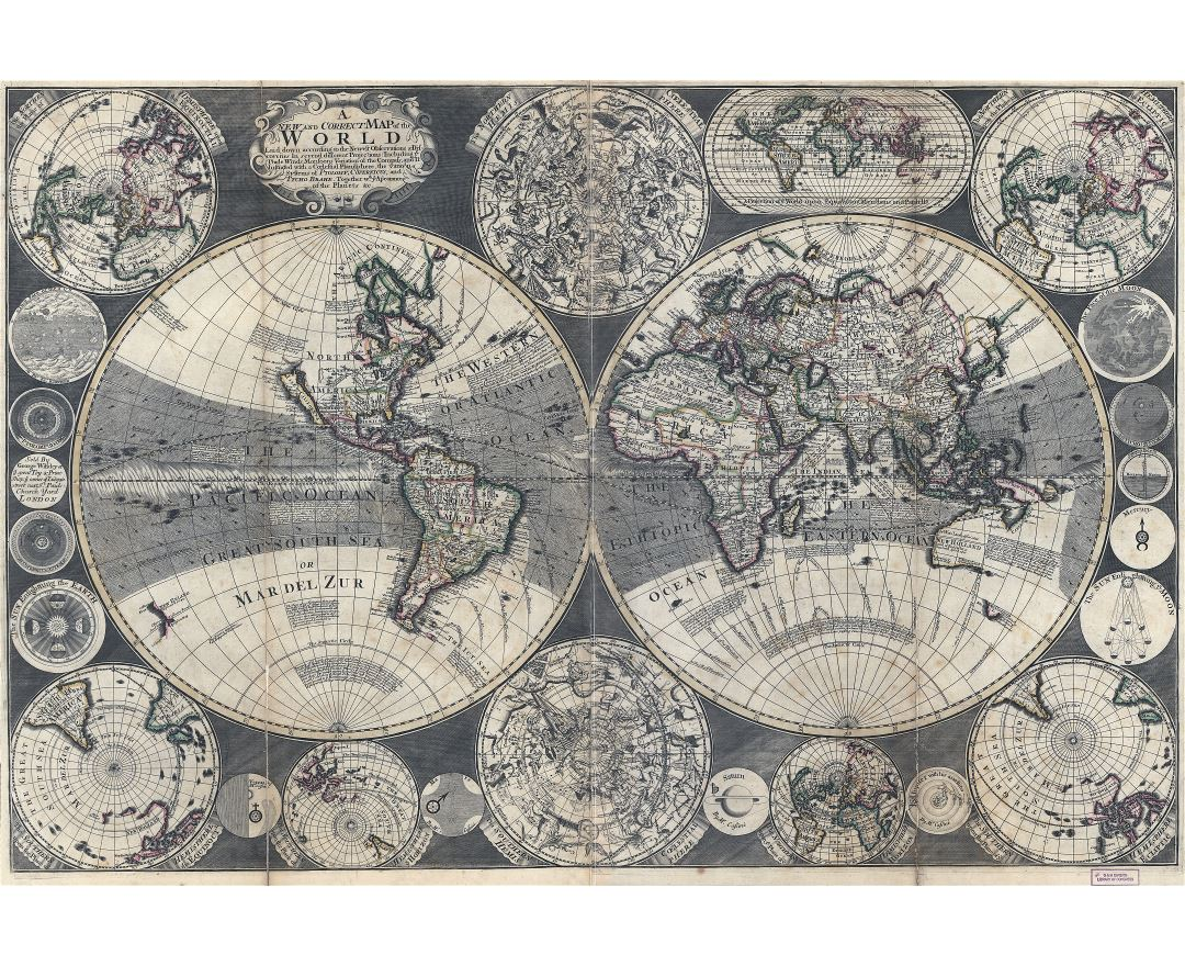 Large scale old map of the World - 1702