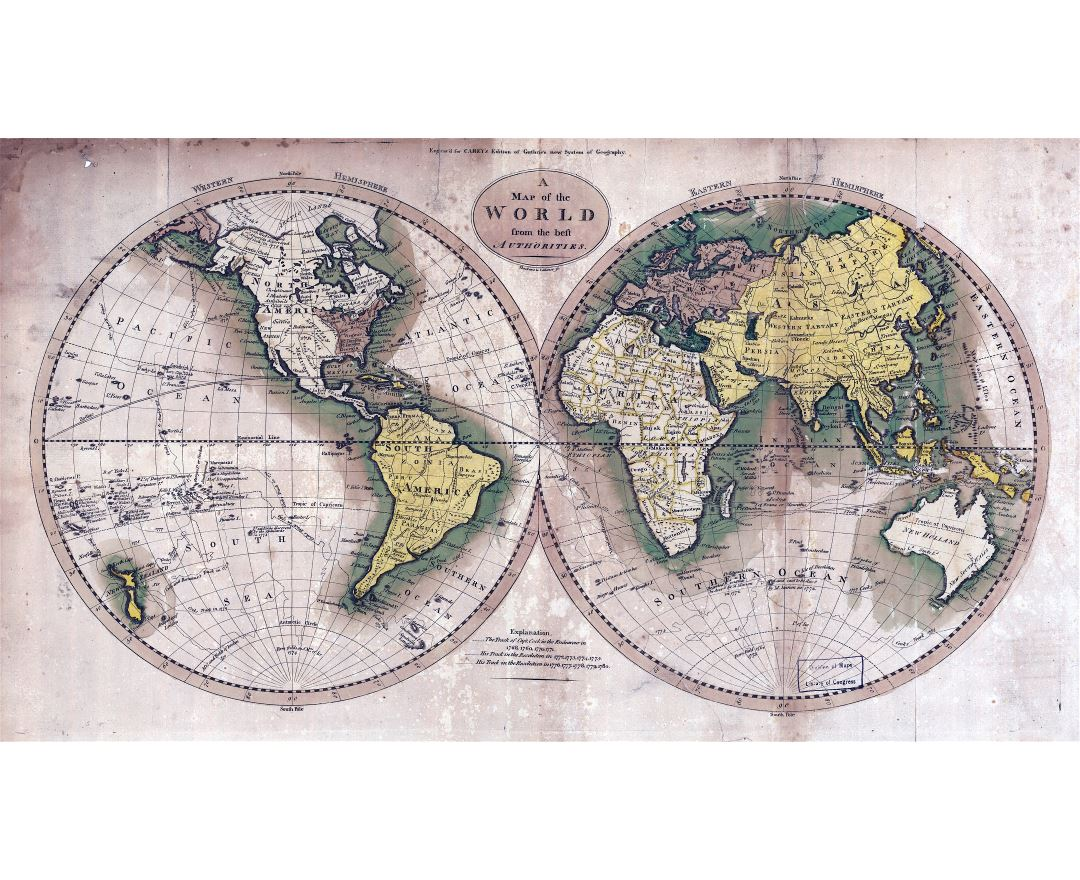 Large scale old map of the World - 1795