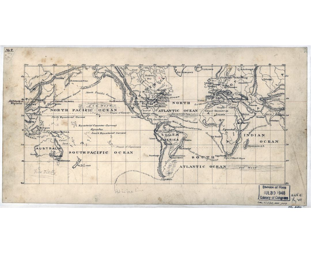 Large scale old map of the World - 1875