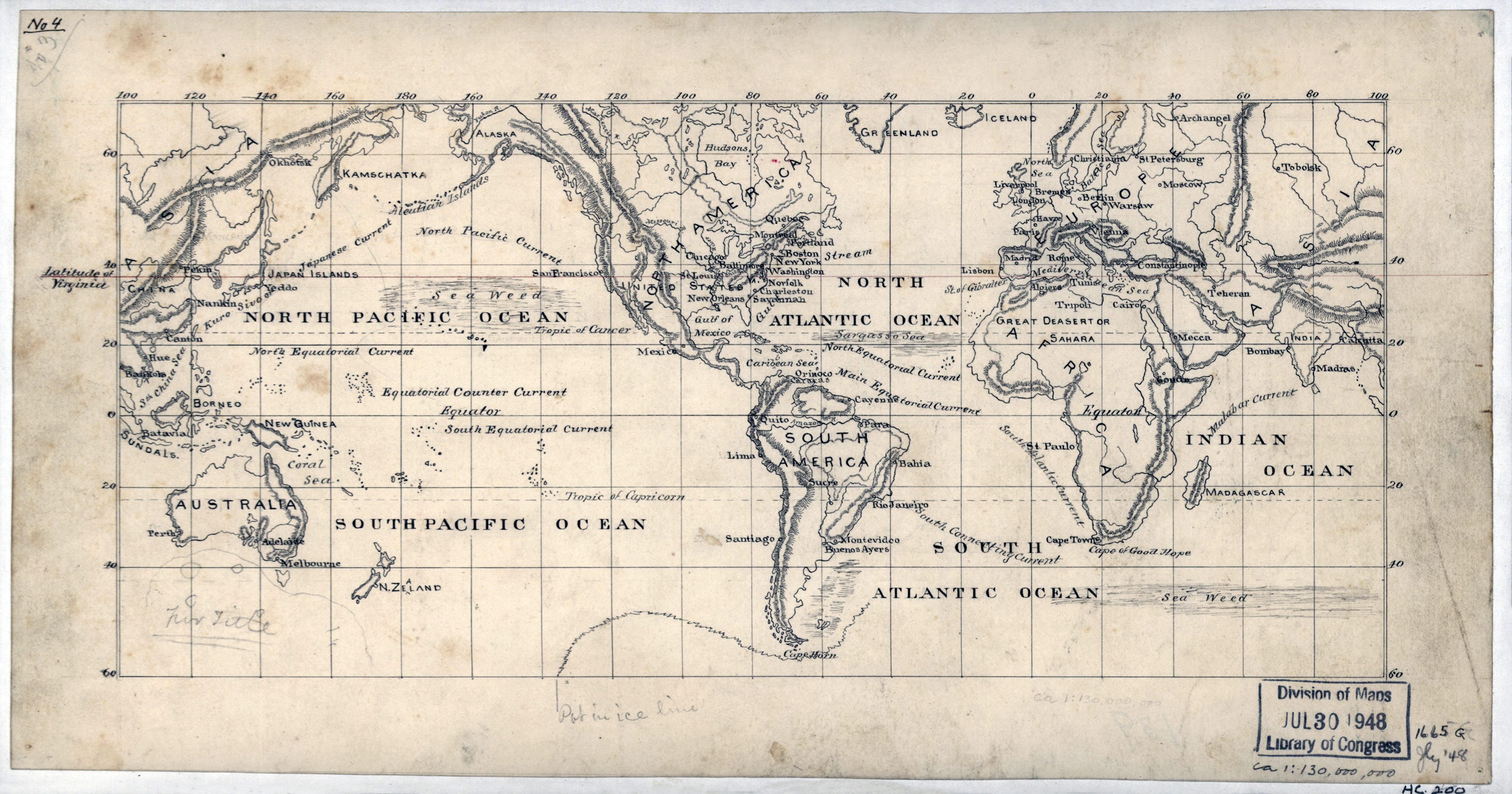 Large scale old map of the World   1875 | Old maps of the World