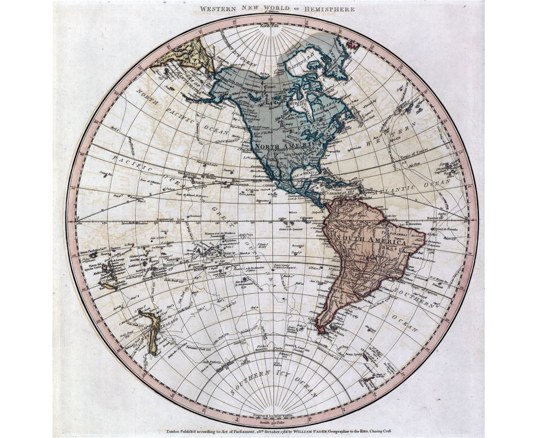 Large scale old map of the World of Western Hemisphere