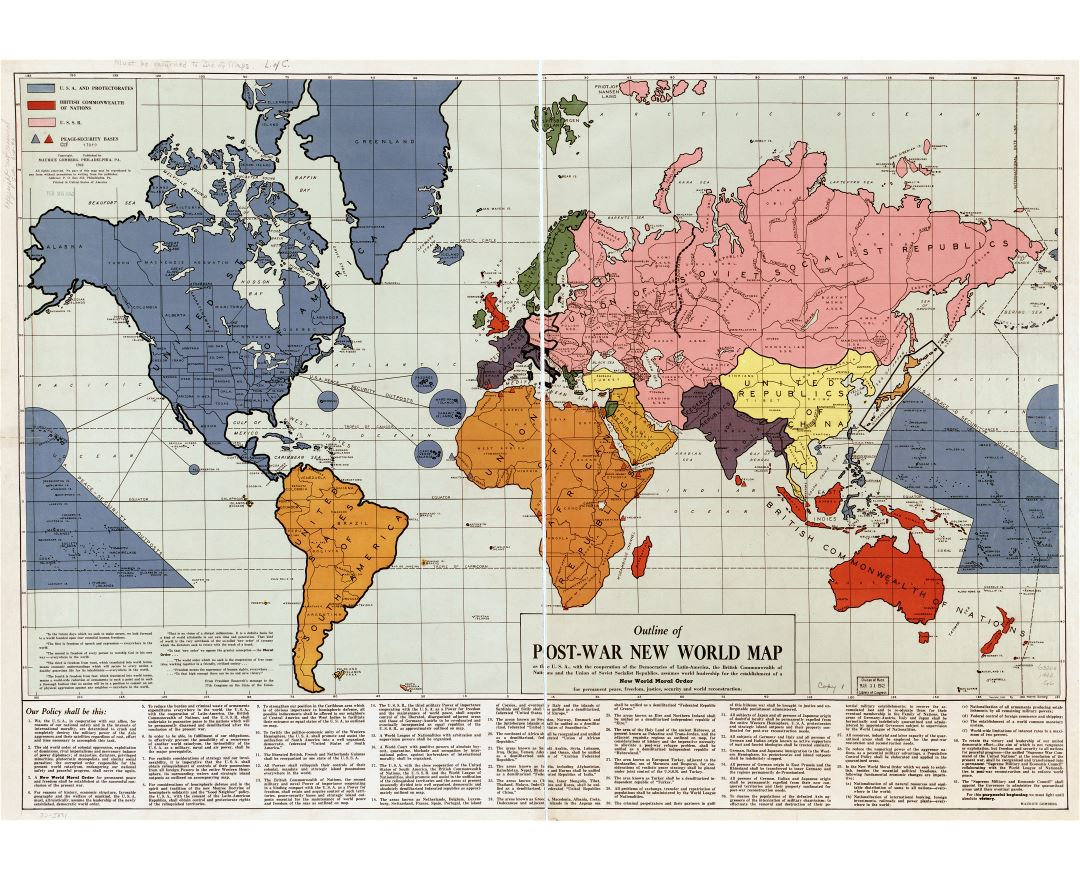 Large scale old outline of post war New World map - 1942