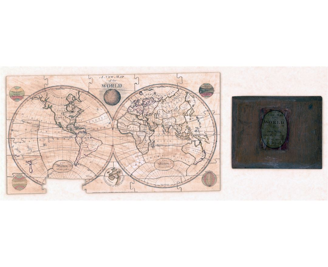 Large scale old puzzle map of the World - 1800