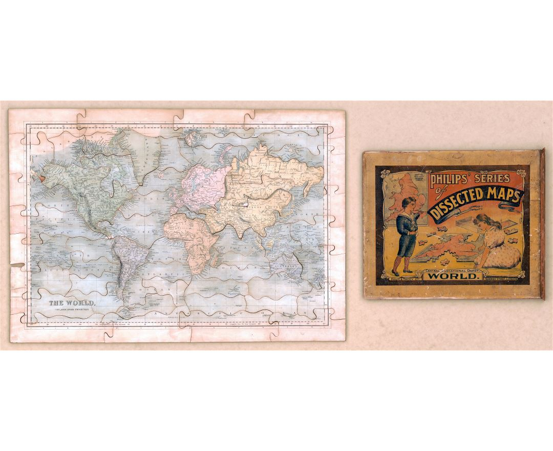 Large scale old puzzle map of the World - 184x