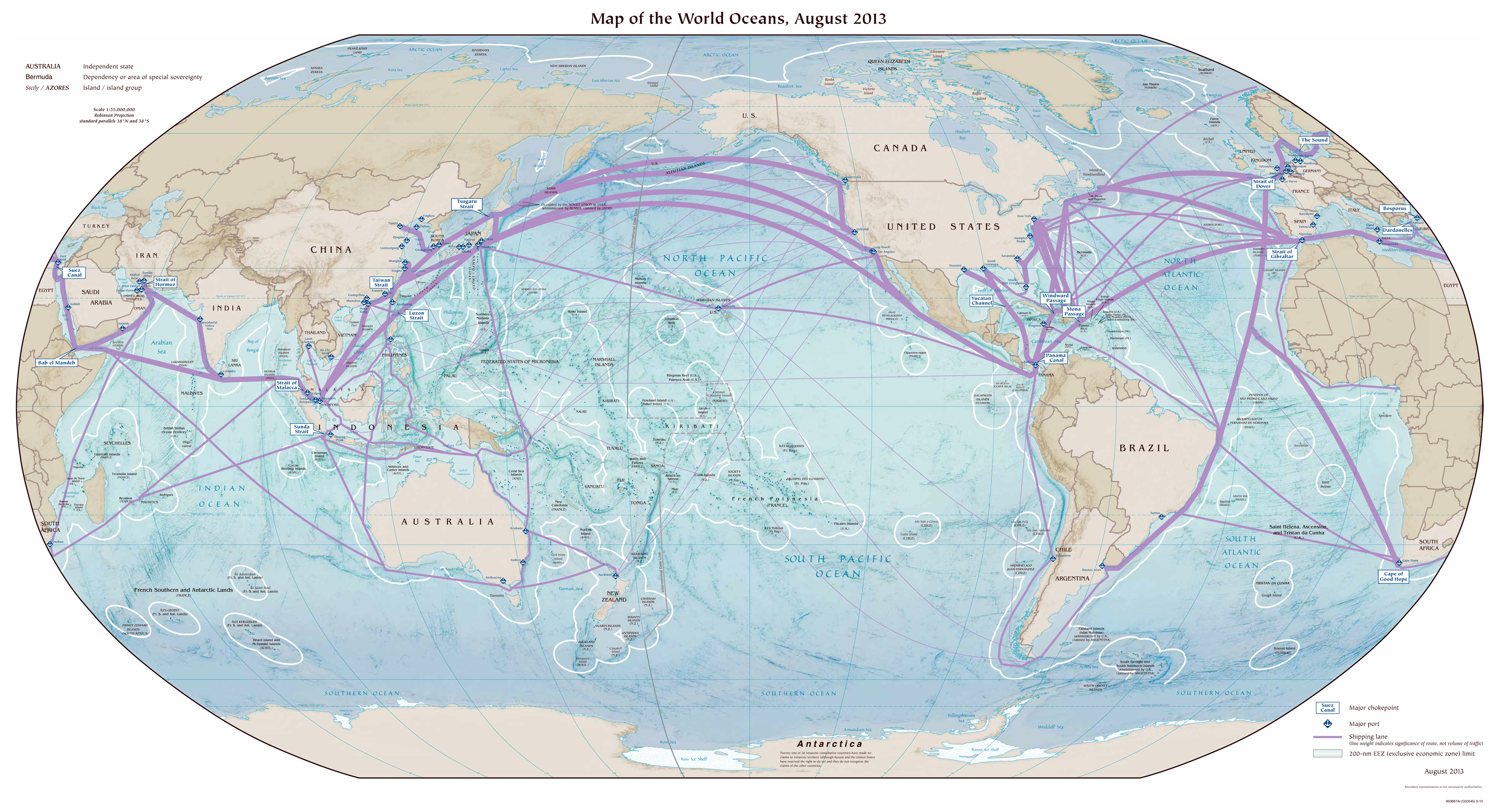 Large detailed map of World Oceans - 2013 | Other maps of ...