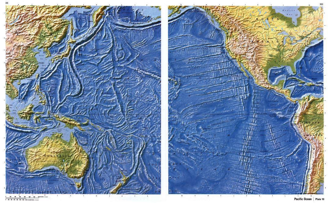 Large detailed relief map of Pacific Ocean