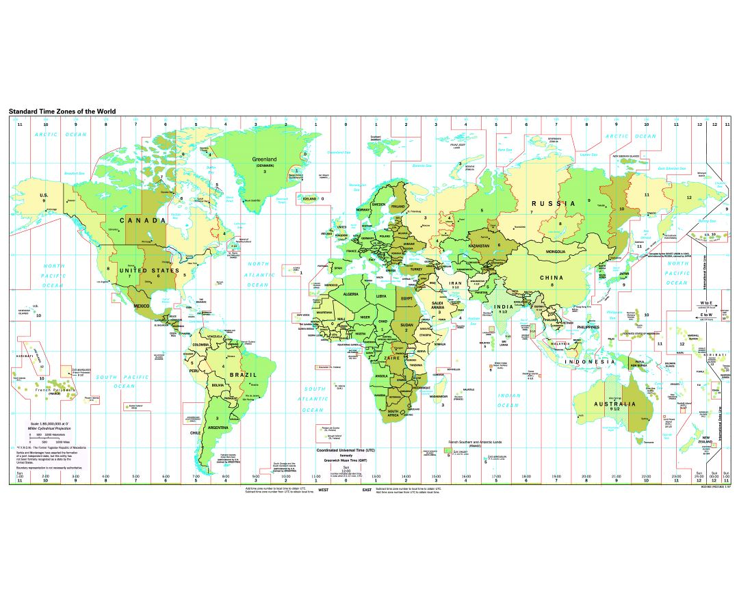 Large detailed map of Standart Time Zones of the World - 1997
