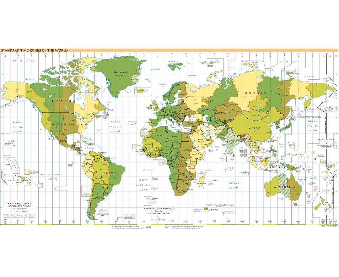 Large detailed map of Standart Time Zones of the World - 2004
