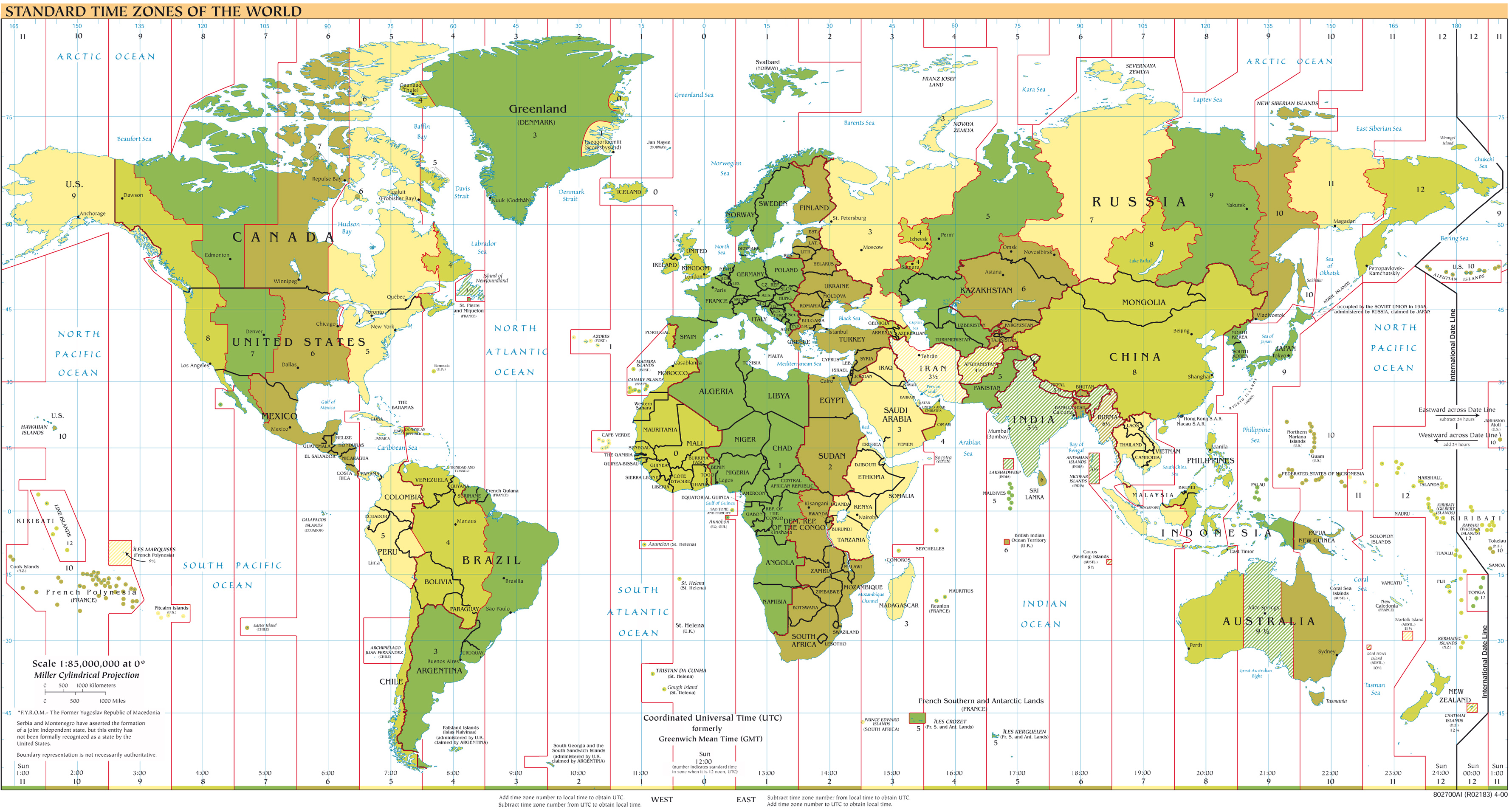 Large Detailed Map Of Time Zones Of The World Time Zones - Detailed world map