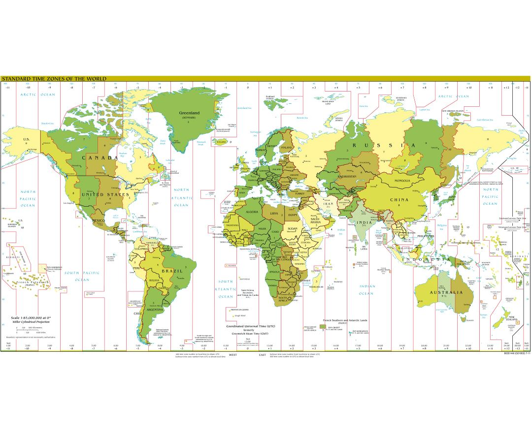 Large detailed map of Time Zones of the World - 2011