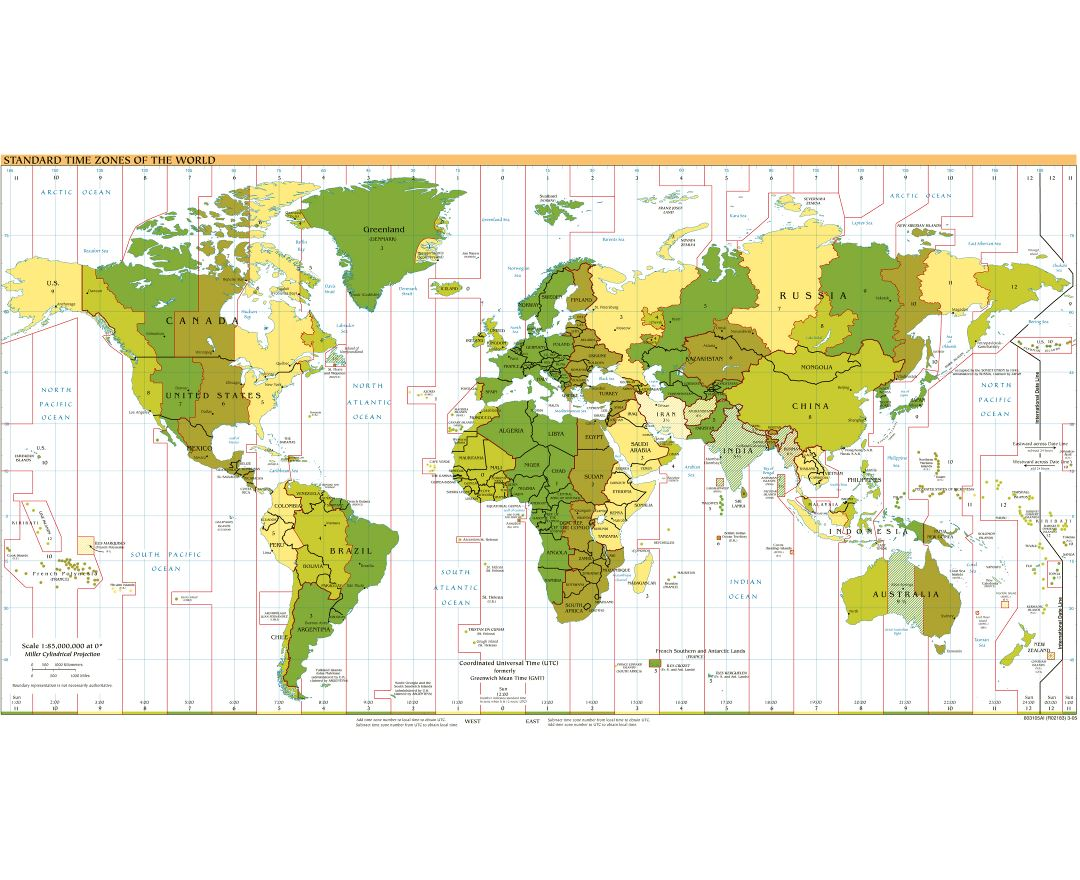 Large detailed Time Zones map of the World - 2005