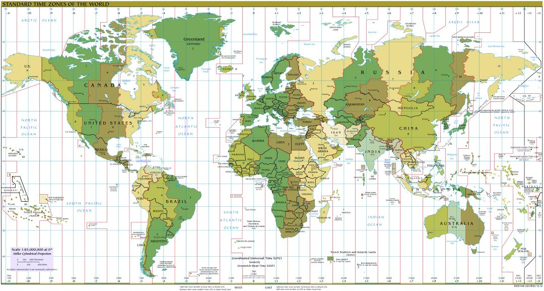 Large detailed Time Zones map of the World - 2012