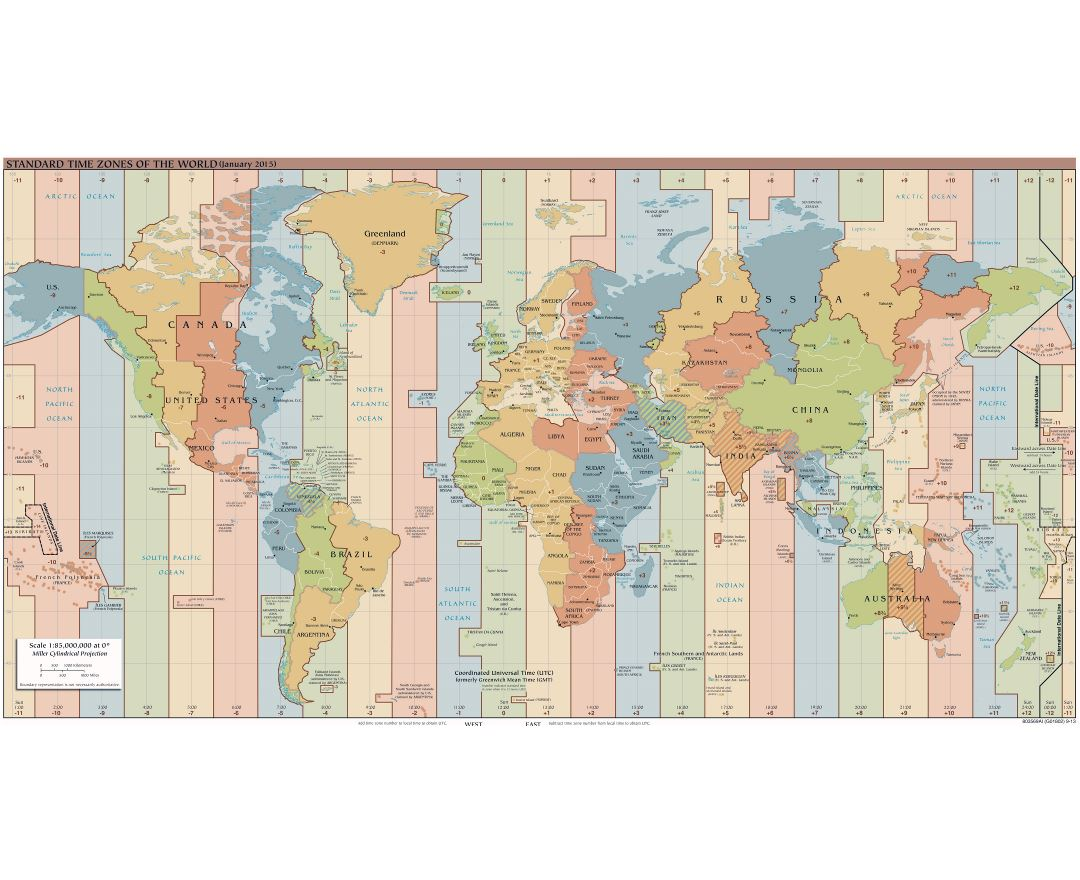 Large detailed Time Zones map of the World - 2015