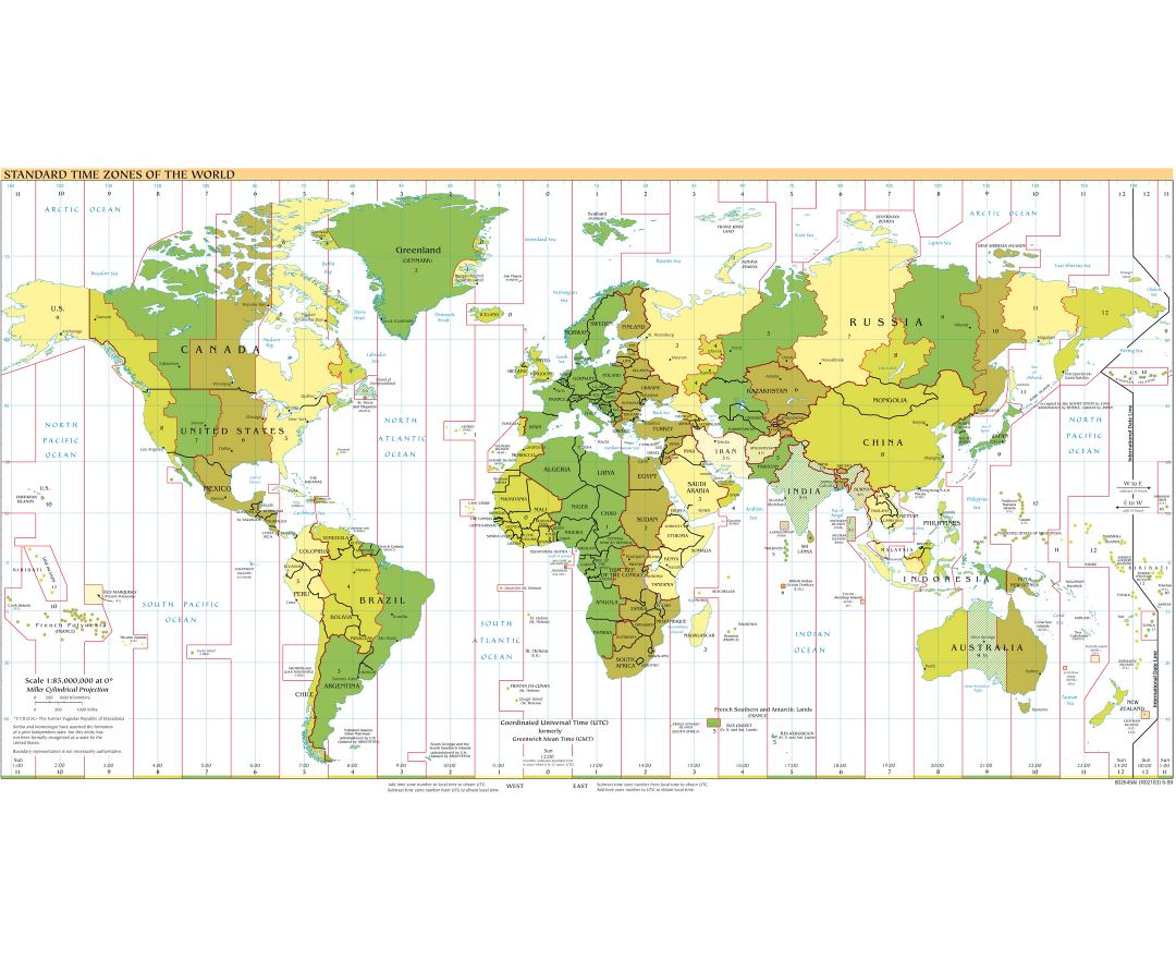 Large map of Standart Time Zones of the World - 1999