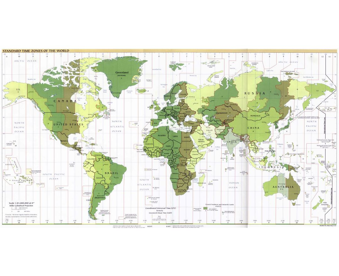 Large map of Standart Time Zones of the World - 2001