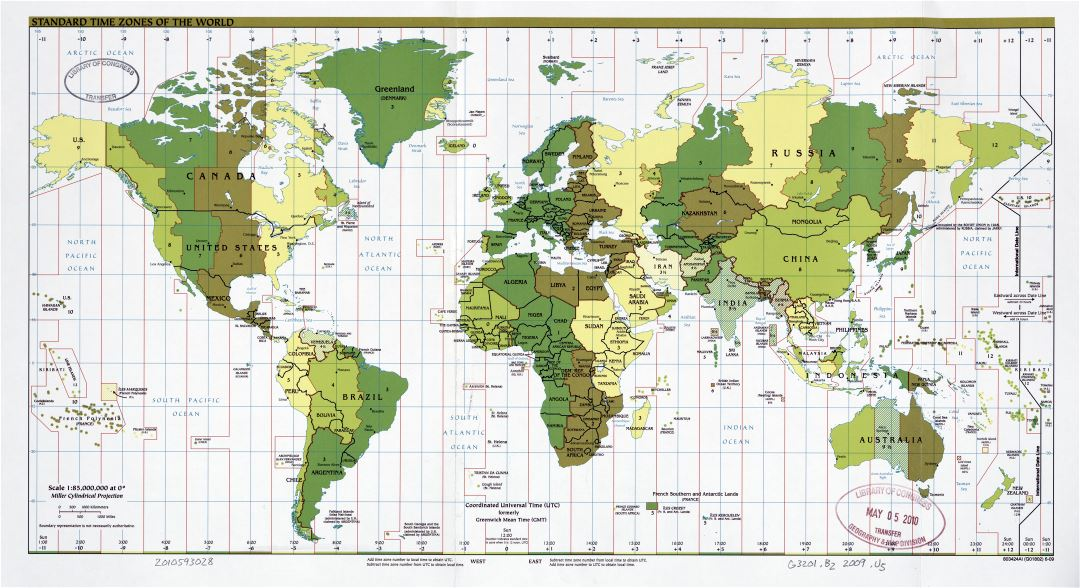 Large scale map of the Standard Time Zones of the World - 2002