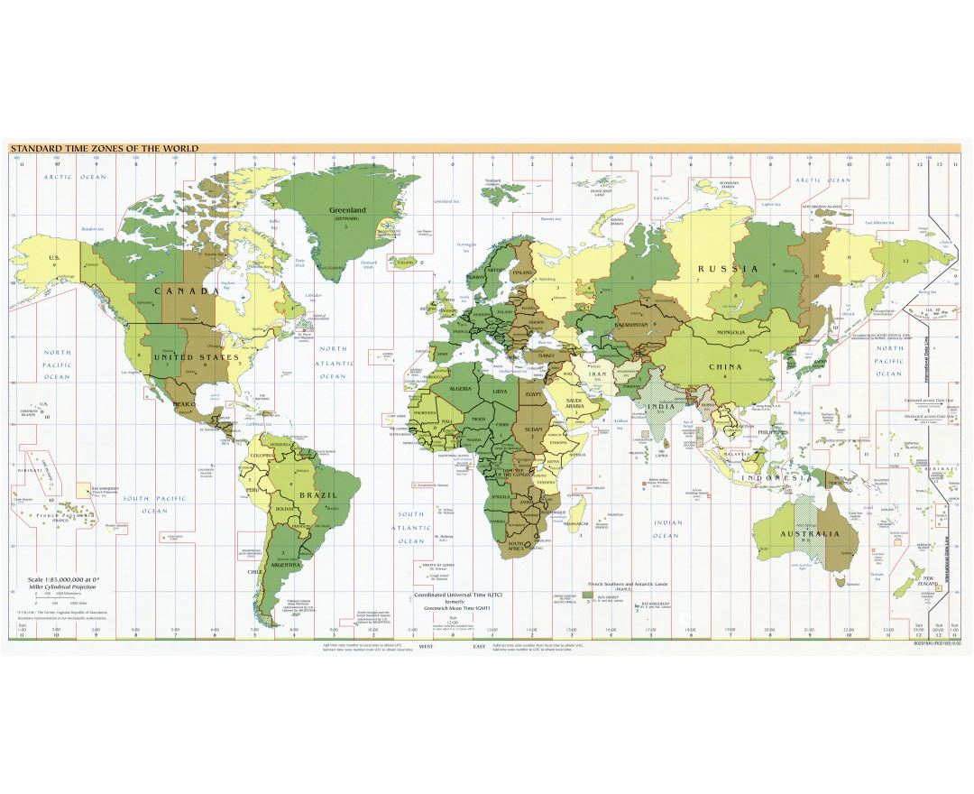 Large scale Standard Time Zones of the World map - 2002