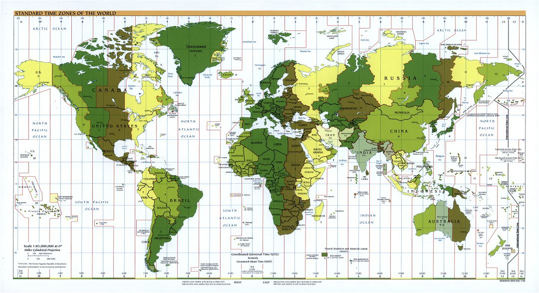 Large scale Standard Time Zones of the World map - 2003