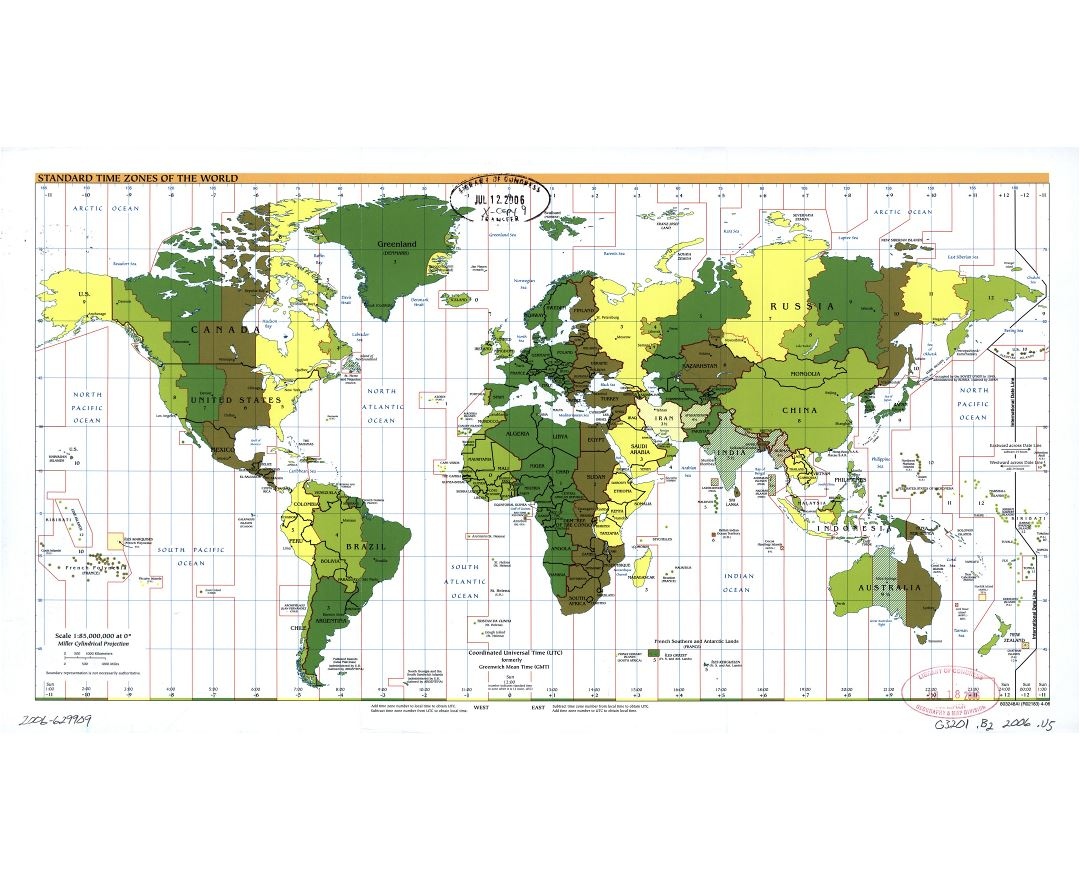 Large scale Standard Time Zones of the World map - 2006