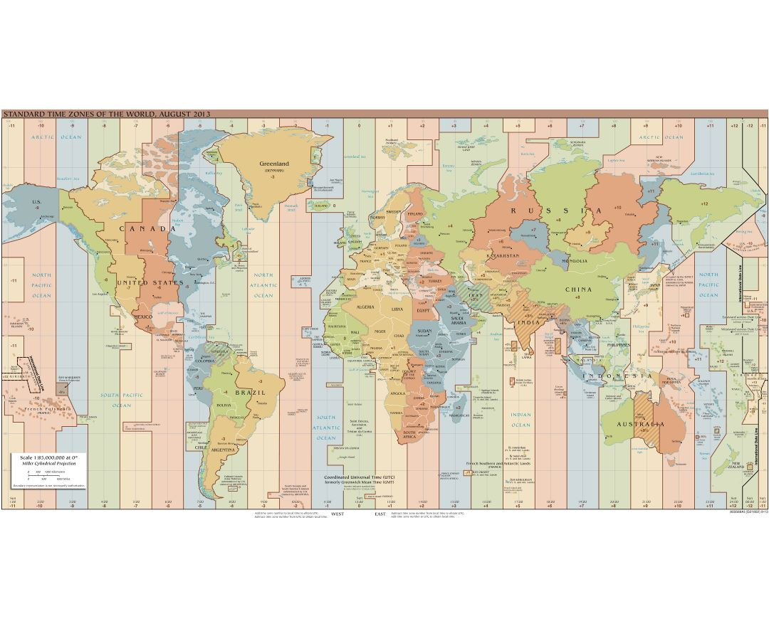 Large scale Time Zones map of the World - 2013
