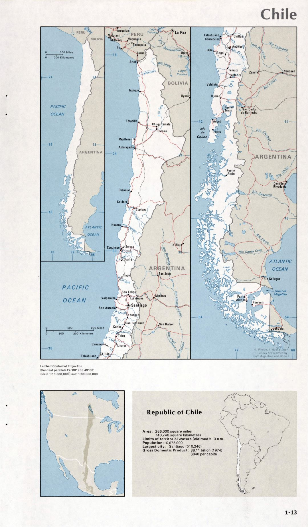 Map of Chile (1-13)