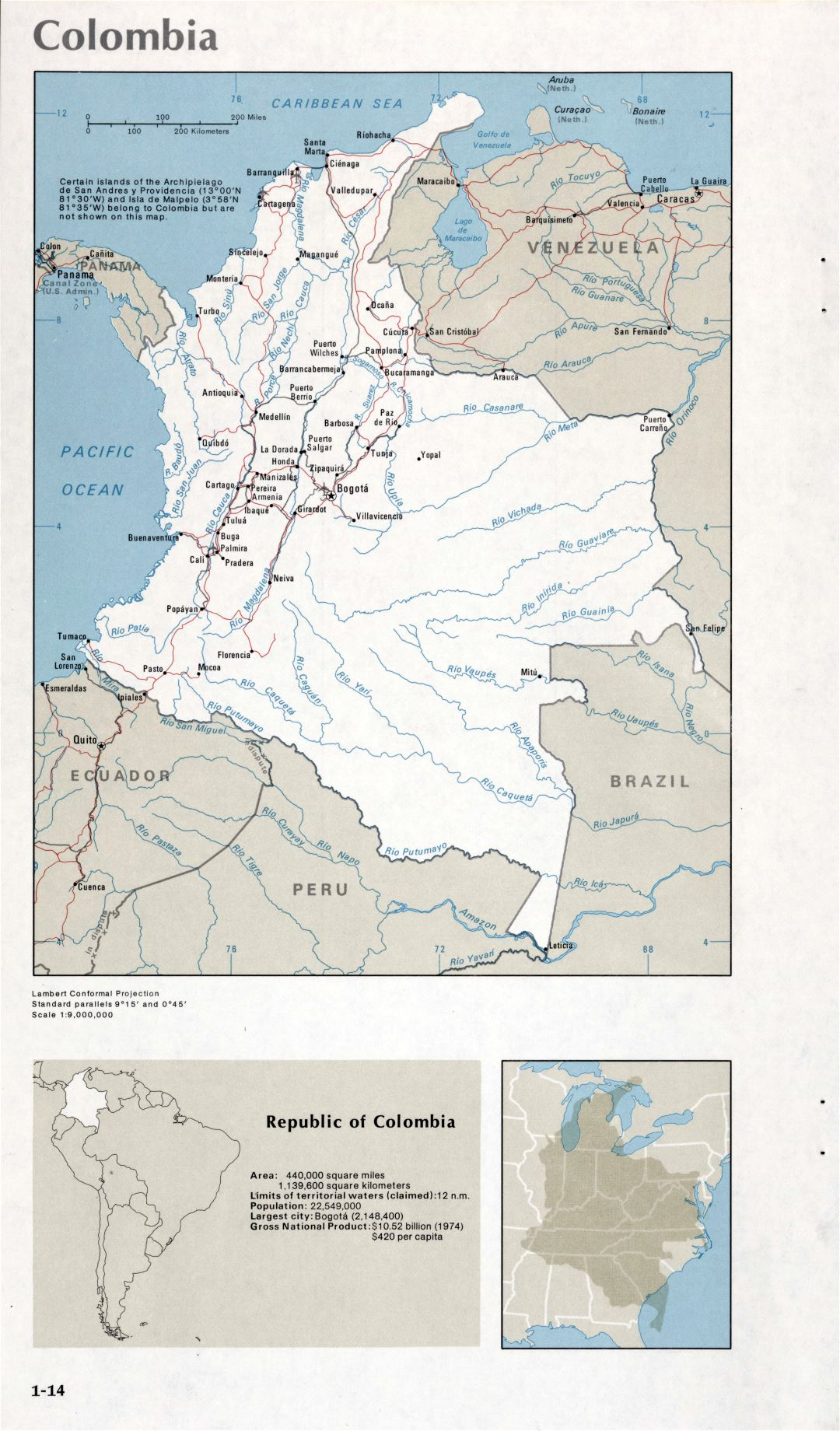 Map of Colombia (1-14)
