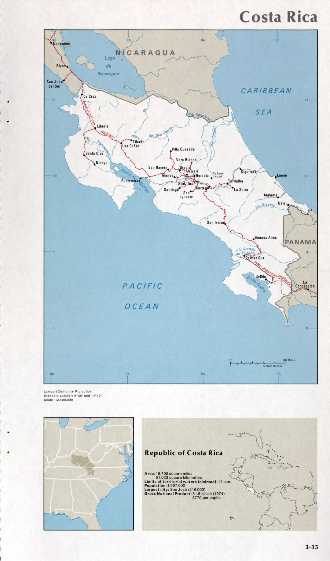 Map of Costa Rica (1-15)