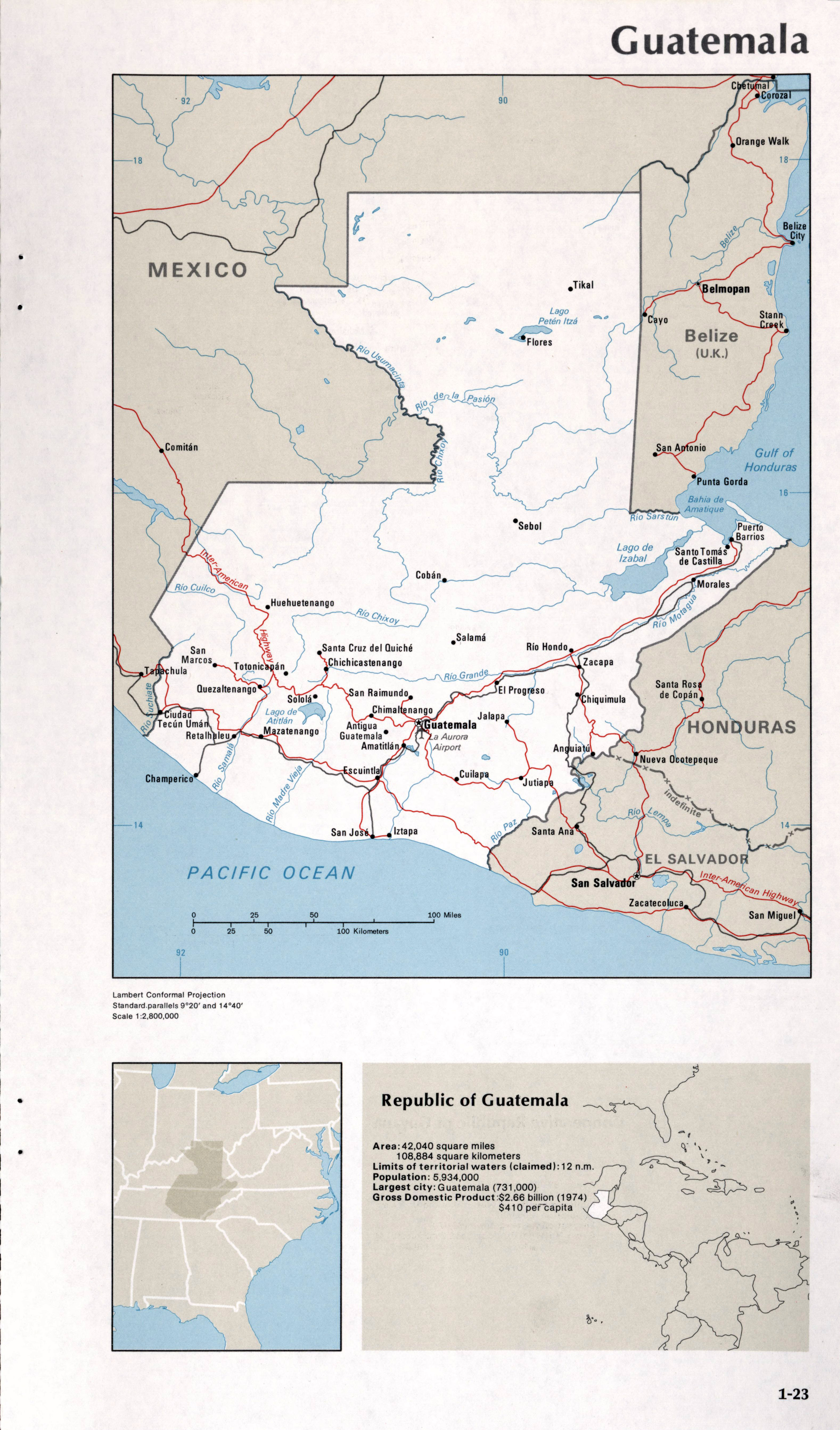 Picture of: Map Of Guatemala 1 23 Western Hemisphere Maps Of The World S Nations World Mapsland Maps Of The World