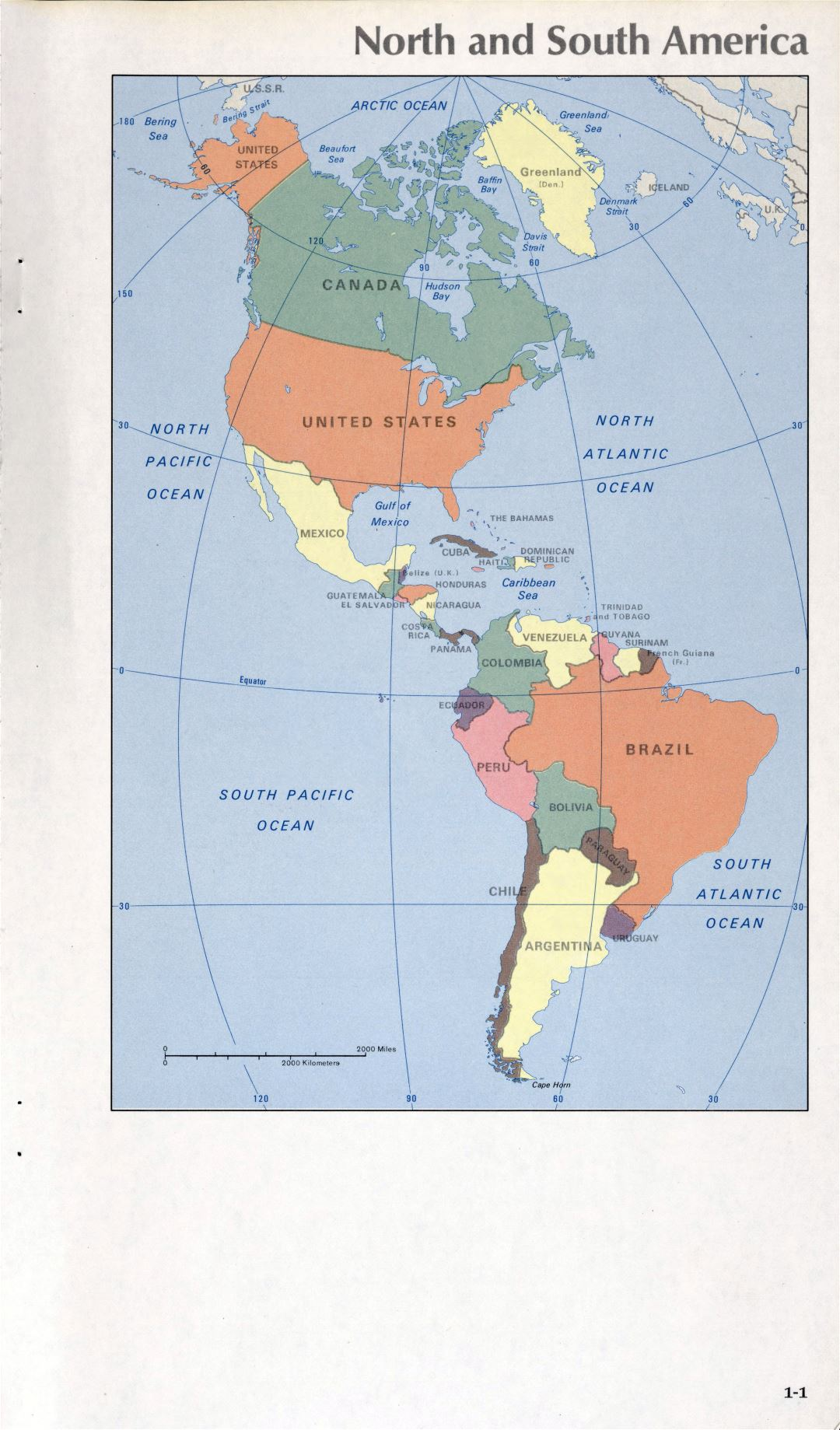 Map of North and South America (1-1)