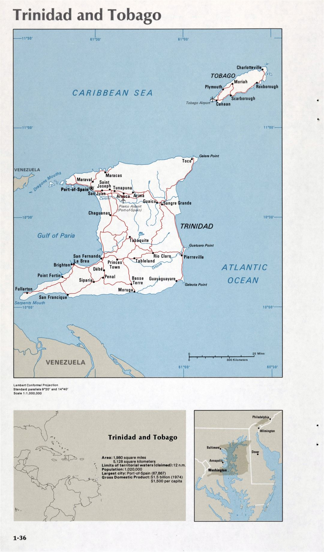 Map of Trinidad and Tobago (1-36)